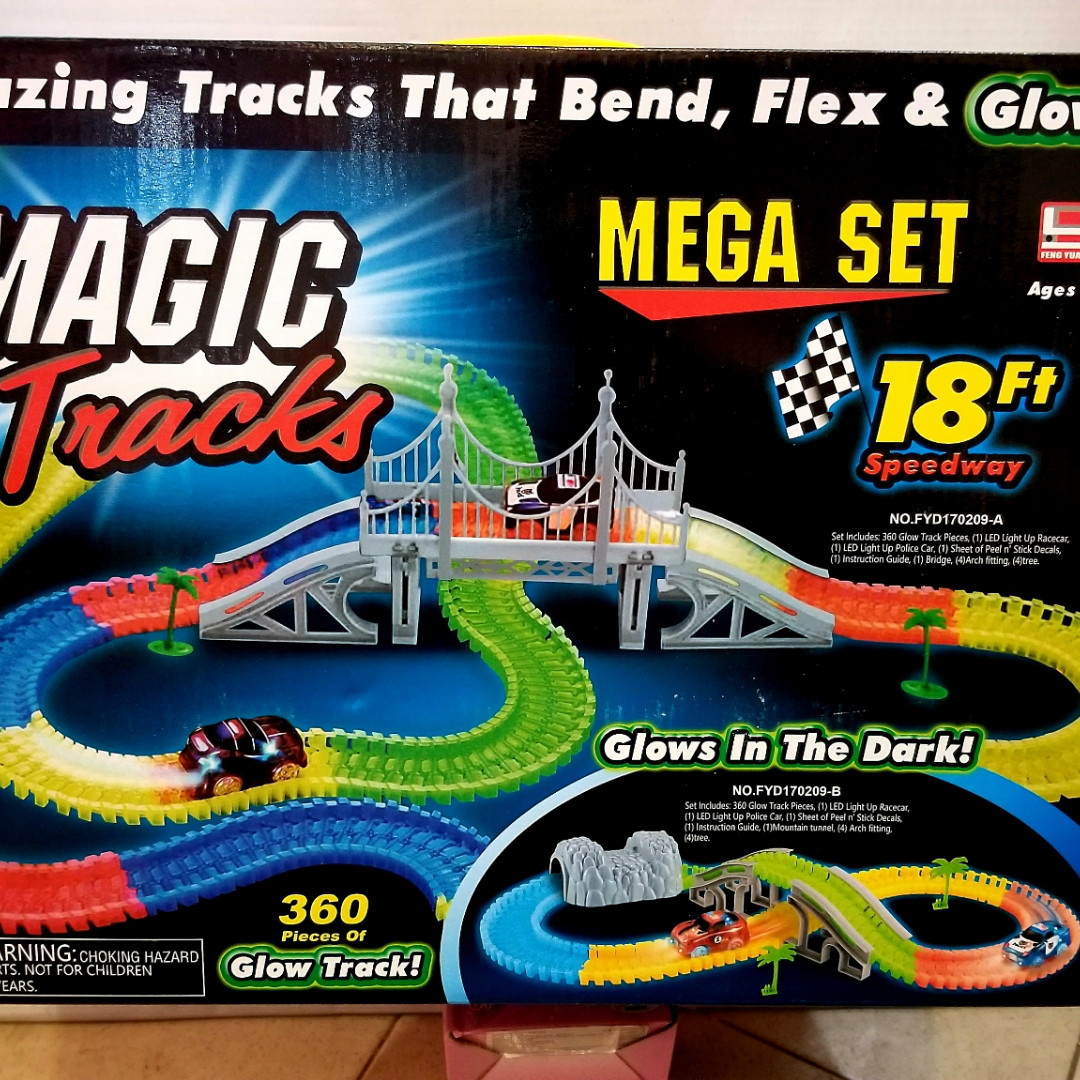 Детская игрушечная дорога - Magic Tracks – новинка 360 деталей, Светящаяся гибкая гоночная трасса 550  см
