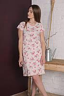 Женская сорочка ночная с короткими рукавами-реглан и планкой на кнопках