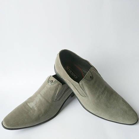 Кожаная обувь украинского производителя : мужские туфли серого цвета, в лазерной коже фабрики Strado