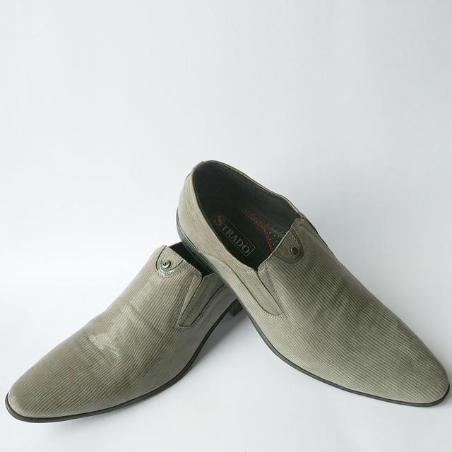 Кожаная обувь украинских производителей мужские туфли серого цвета в лазерной коже под ложку