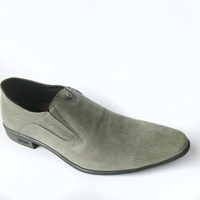 Кожаная обувь украинских производителей мужские туфли серого цвета под ложку в лазерной коже