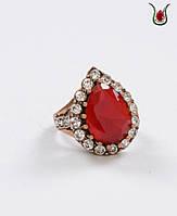 """Кольцо """"Хюррем"""" с красным камнем."""