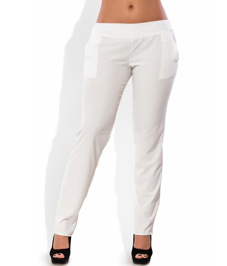 Белые летние брюки из ткани софт 1260