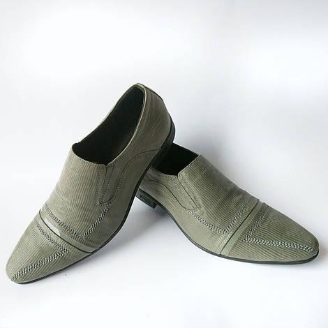 Мужская обувь от производителя Харьков: серые туфли, в лазерной коже фабрики Strado