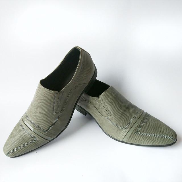 Обувь от производителя Харьков мужские туфли серого цвета, в лазерной коже, под ложку