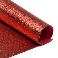 Фоамиран 2 мм с глиттером 20х30 см Красный 1 шт, фото 1