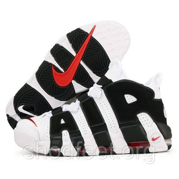 Мужские кроссовки Nike Air More Uptempo White Black 414962-105