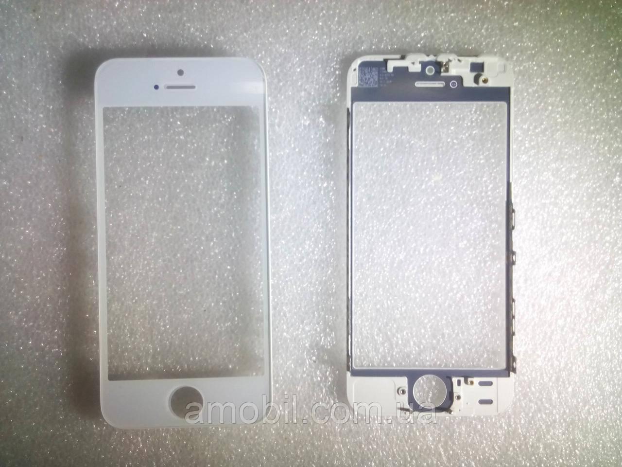 Скло з дисплейної рамкою і OCA плівкою для iPhone 5S біле