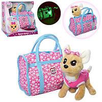 Интерактивная собачка в сумочке Кикки M 3835-N-RU  (аналог Chi Chi Love) сумка и бант светятся в темноте