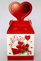 """Коробка подарочная сборная 8,5*9.5*8,5 см.""""Сердце""""."""
