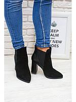 Ботинки (ботильоны) кожаные черные на толстом каблуке с острым носком