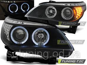 Фары BMW E60/E61 03-07 ANGEL EYES BLACK LED INDIC.