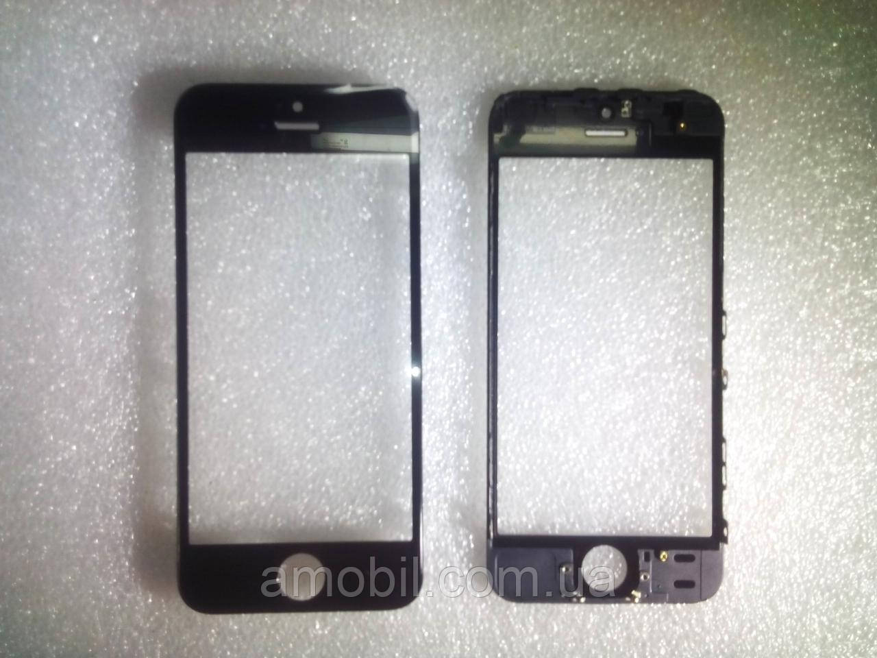 Стекло с дисплейной рамкой и OCA плёнкой для iPhone 5S чёрное orig качество
