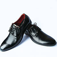 Мужская обувь Бровары : стильные, лаковые, черные туфли фабрики Prime shoes