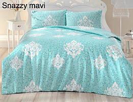 Постельное белье ранфорс Altinbasak (евро-размер) № Shazzy Mavi
