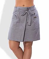 Льняная юбка-шорты серого цвета 1283