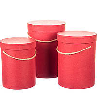Комплект коробок для цветов 3 шт 0070J/Red