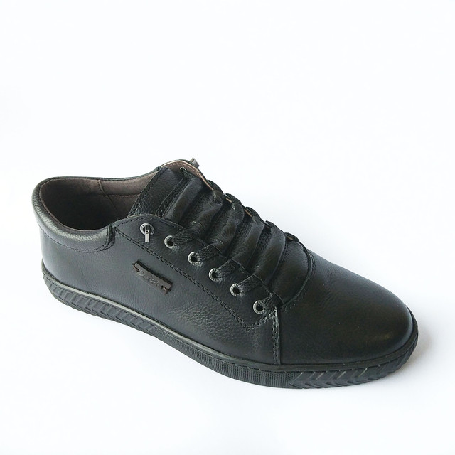 Удобная мужская кожаная обувь Detta ортопедическая повседневная черного цвета