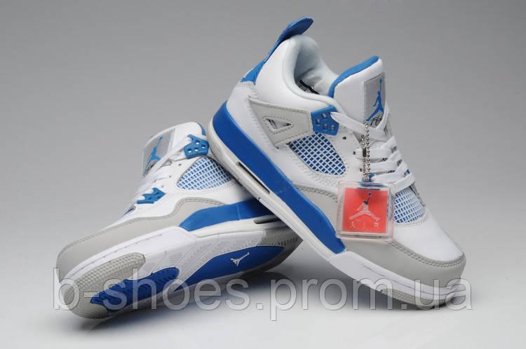 Женские кроссовки Jordan Retro 4  (White/Blue/Grey)