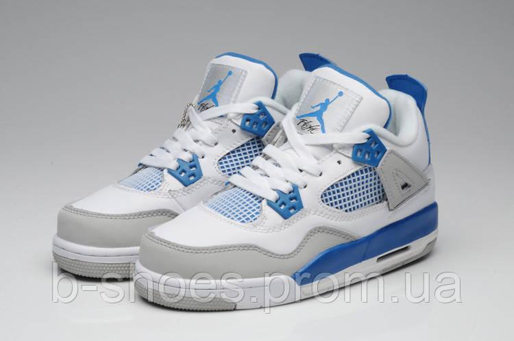 fb2472db1b08 Женские кроссовки Jordan Retro 4 (White Blue Grey)  продажа, цена в ...
