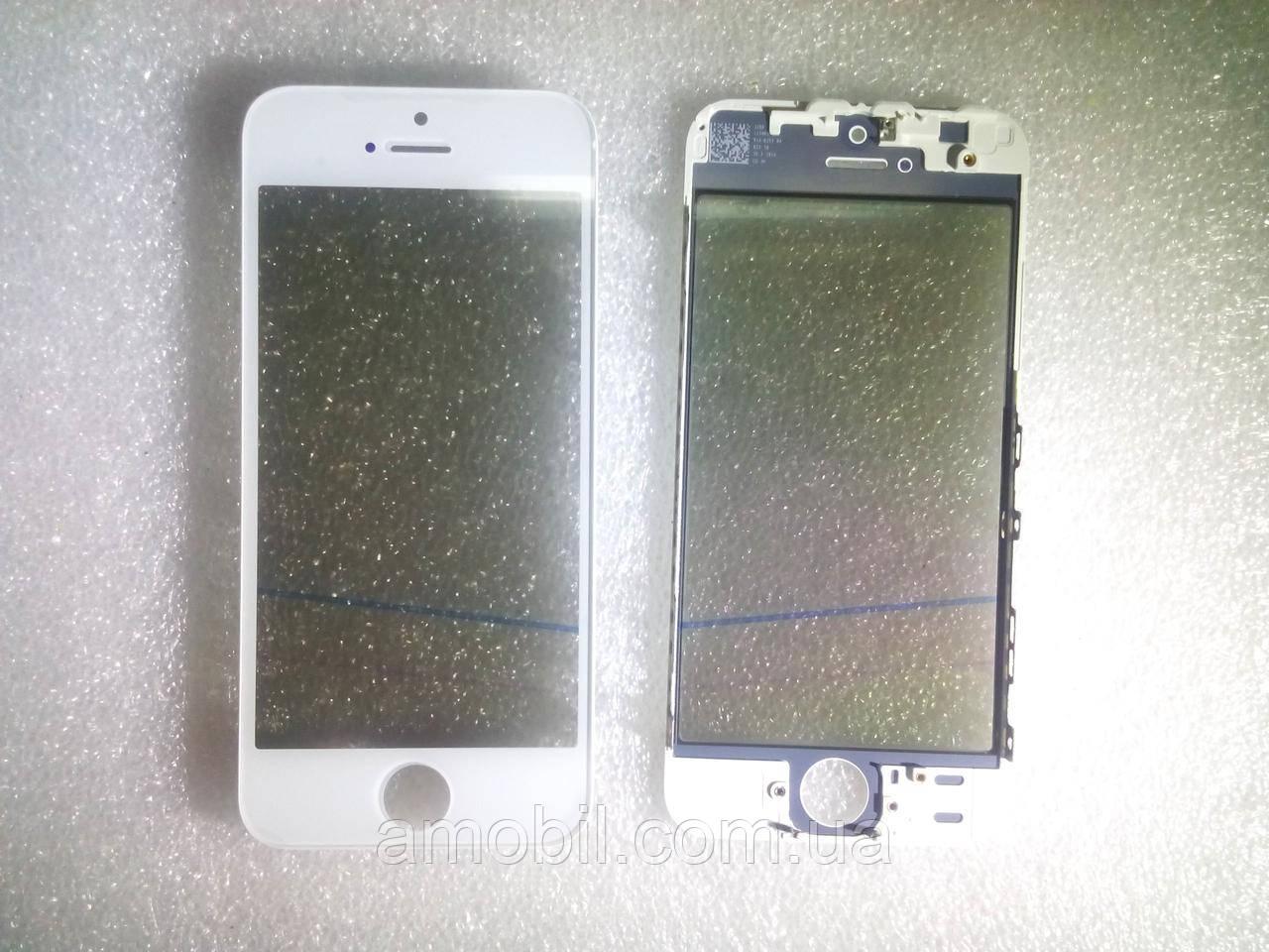 Стекло с дисплейной рамкой , OCA плёнкой и поляризационной плёнкой для iPhone 5S белое