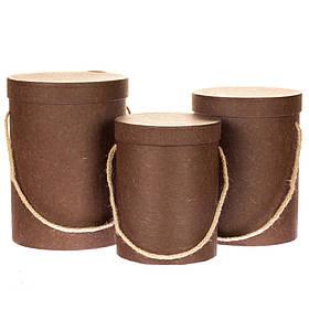 Комплект коробок для цветов 3 шт 0070J/brown