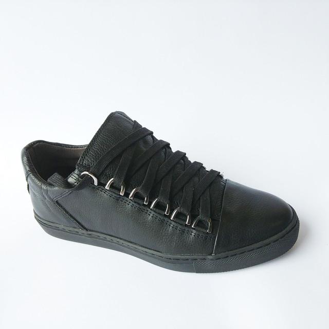 Кожаная Detta обувь черного цвета ортопедические кеды с прошитой подошвой на шнуровке