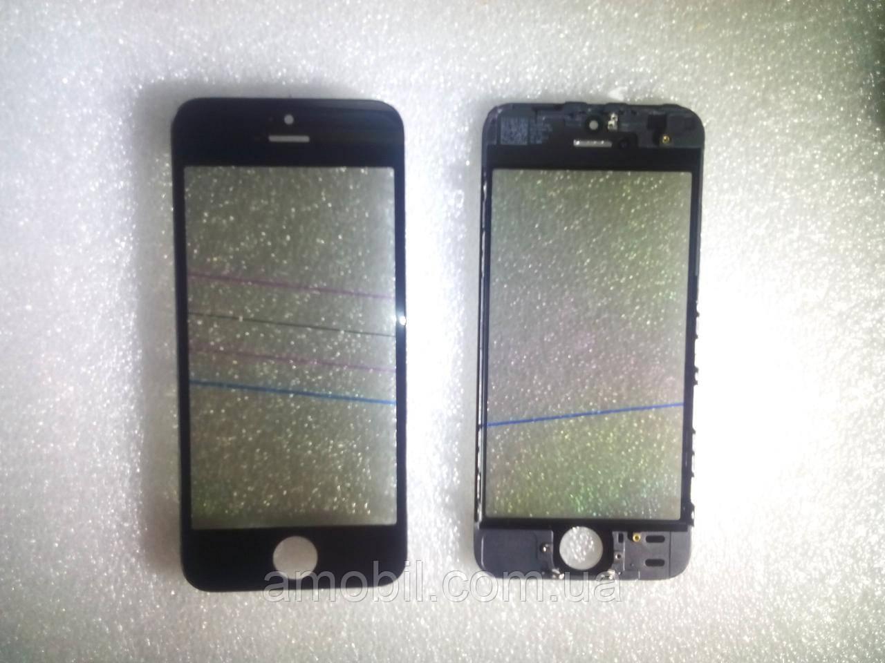 Стекло с дисплейной рамкой , OCA плёнкой и поляризационной плёнкой для iPhone 5S чёрное