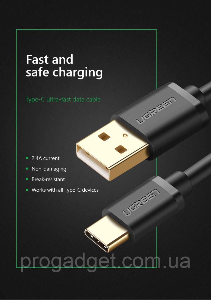 UGREEN type-C data cable 1 м кабель USB-USB type C - отличный качественный кабель!
