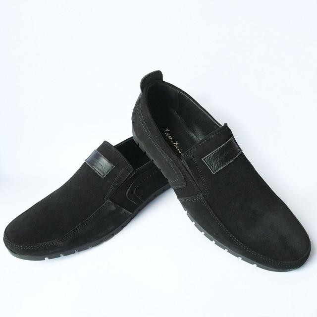 Качественная мужская обувь Украина черные замшевые мокасины под ложку