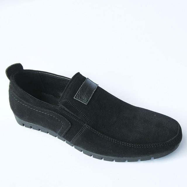 Качественная мужская обувь Украина мокасины под ложку черные замшевые