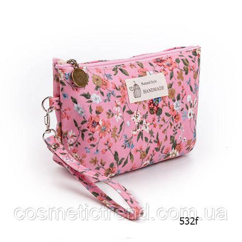 Косметичка женская для сумки NATURAL STYLE Hand Made с цветочным принтом 532f 21*13*6,5 см