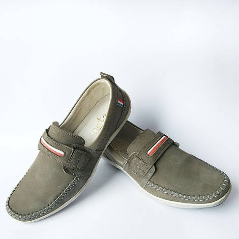 Мужская кожаная обувь : замшевые мокасины, серого цвета