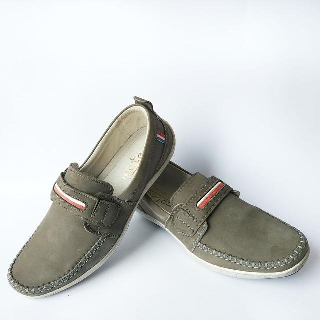 Польская обувь кожаная мужская серого цвета замшевые мокасины под ложку