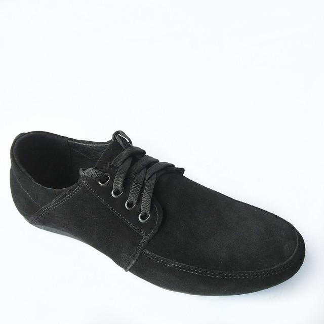 Харьковская обувь Van Kristi мужские замшевые мокасины на шнуровке черного цвета