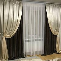 Комплект элитных штор из софта декорированных атласом, фото 1