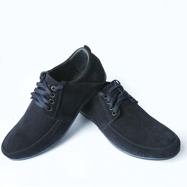 Удобная мужская обувь харьковского производства замшевые, синего цвета мокасины, на шнуровке