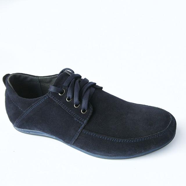 Повседневная мужская обувь харьковского производства замшевые, темно-синего цвета мокасины, на шнуровке