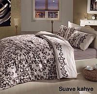 Постельное белье ранфорс Altinbasak (евро-размер) простынь на резинке № Suave Kahve