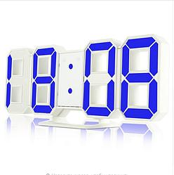 Часы настенные электронные белый+синий (Пластик, LED)