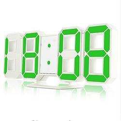 Часы настенные / настольные электронные белый+зеленый (Пластик, LED) + Адаптер сетевой