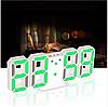 Часы настенные / настольные электронные белый+зеленый (Пластик, LED) + Адаптер сетевой, фото 7