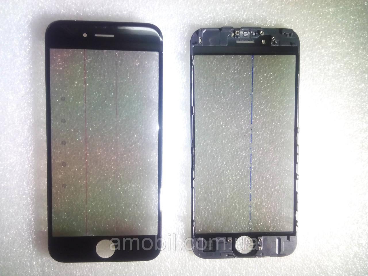 Стекло с дисплейной рамкой , OCA плёнкой и поляризационной плёнкой для iPhone 6S чёрное orig качеств