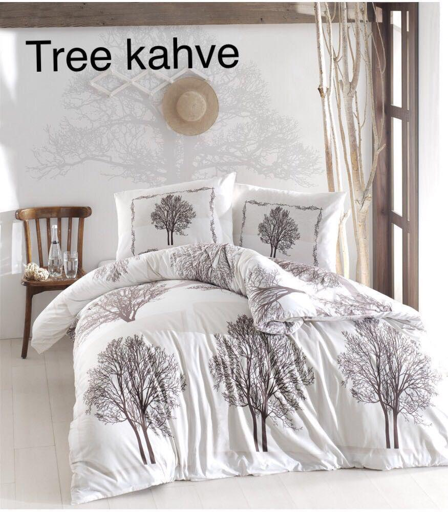 Постельное белье ранфорс Altinbasak (евро-размер) № Tree Kahve