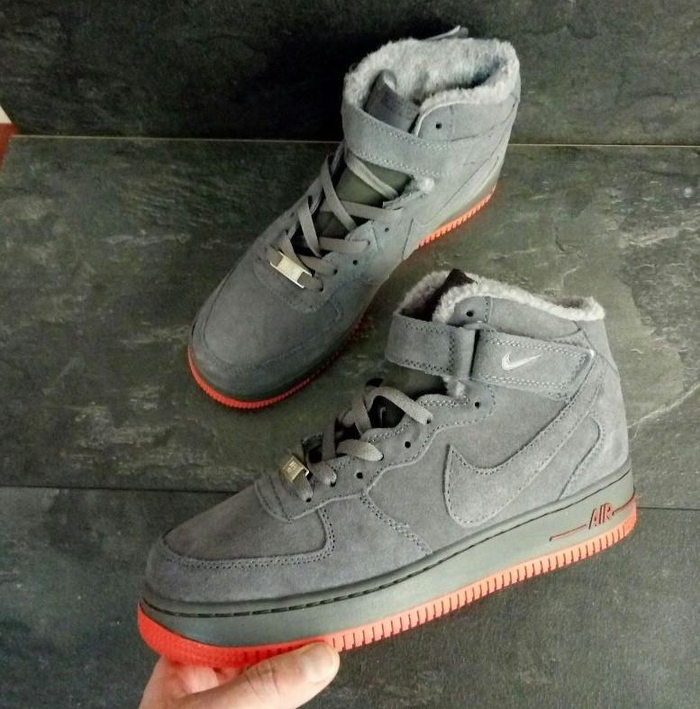 Кроссовки в стиле Nike Air Force 1 Hi Suede Grey Gum (C мехом) мужские 9a06af5aa27b5