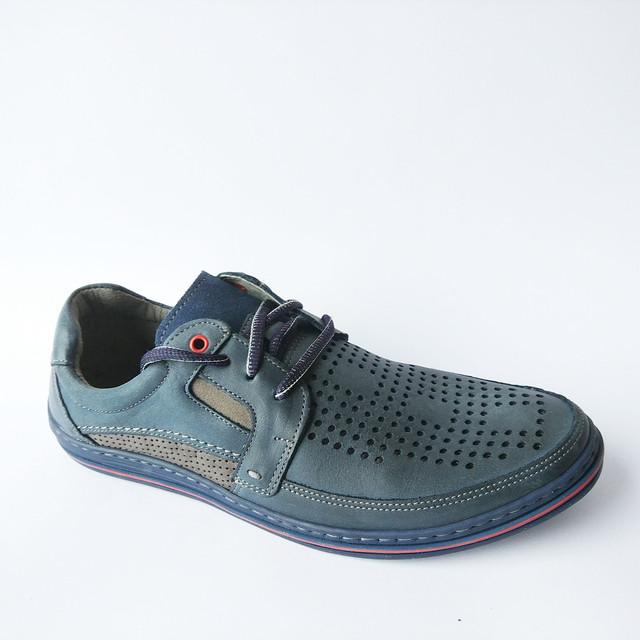 Мужские кожаные мокасины Польша летние на шнуровке синего цвета