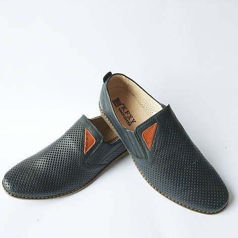 Синие мужские повседневные кожаные туфли