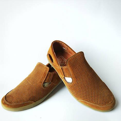 Мужская харьковская обувь : летние кожаные мокасины, коричневого цвета