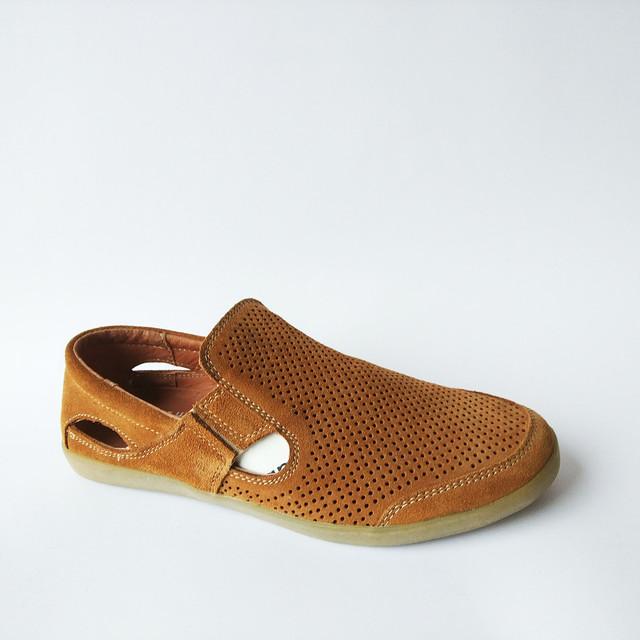 мужская кожаная харьковская обувь летние замшевые мокасины под ложку оранжевого цвета