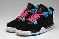 Женские кроссовки Jordan Retro 4  (White/Blue/Grey), фото 1